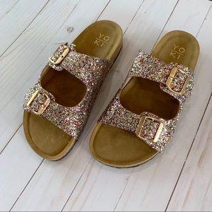 Shoes - Glitter Buckle Slide Sandals